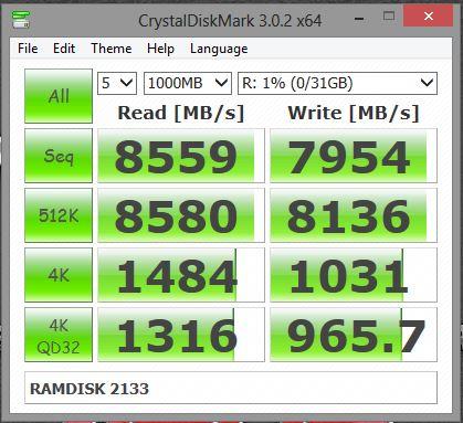 2133MHz crystaldiskmark