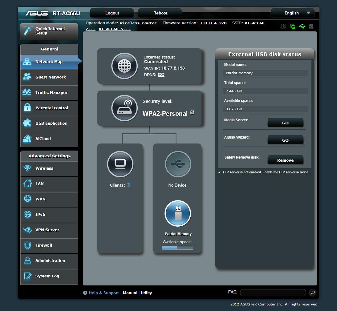 04 ASUS Wireless Router RT-AC66U – USB Status