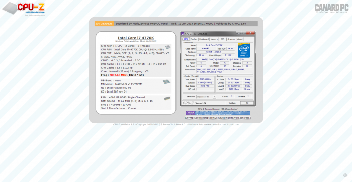 PR ASUS ROG Maximus VI Extreme CPU-Z 7092.68MHz Intel Core i7-4770K