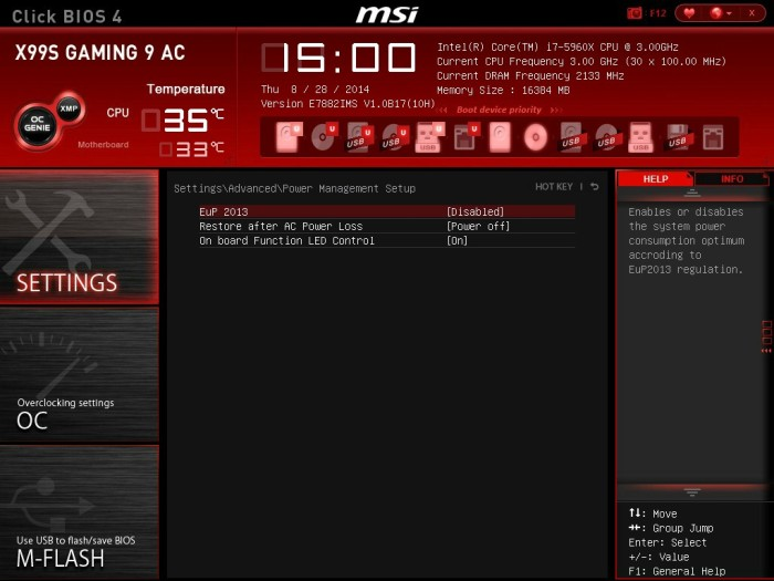 MSI X99S Gaming 9 BIOS 8