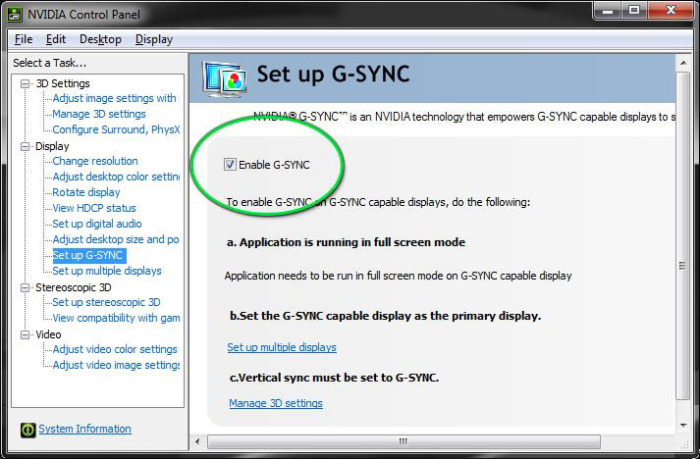 enable GSYNC Checkbox