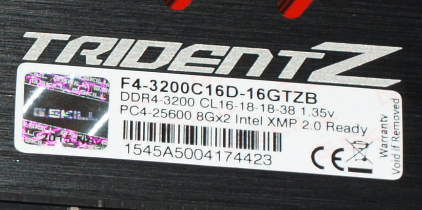 G Skill TridentZ 16GB DDR 4 DC 3200 MHz (16 18 18 38), The