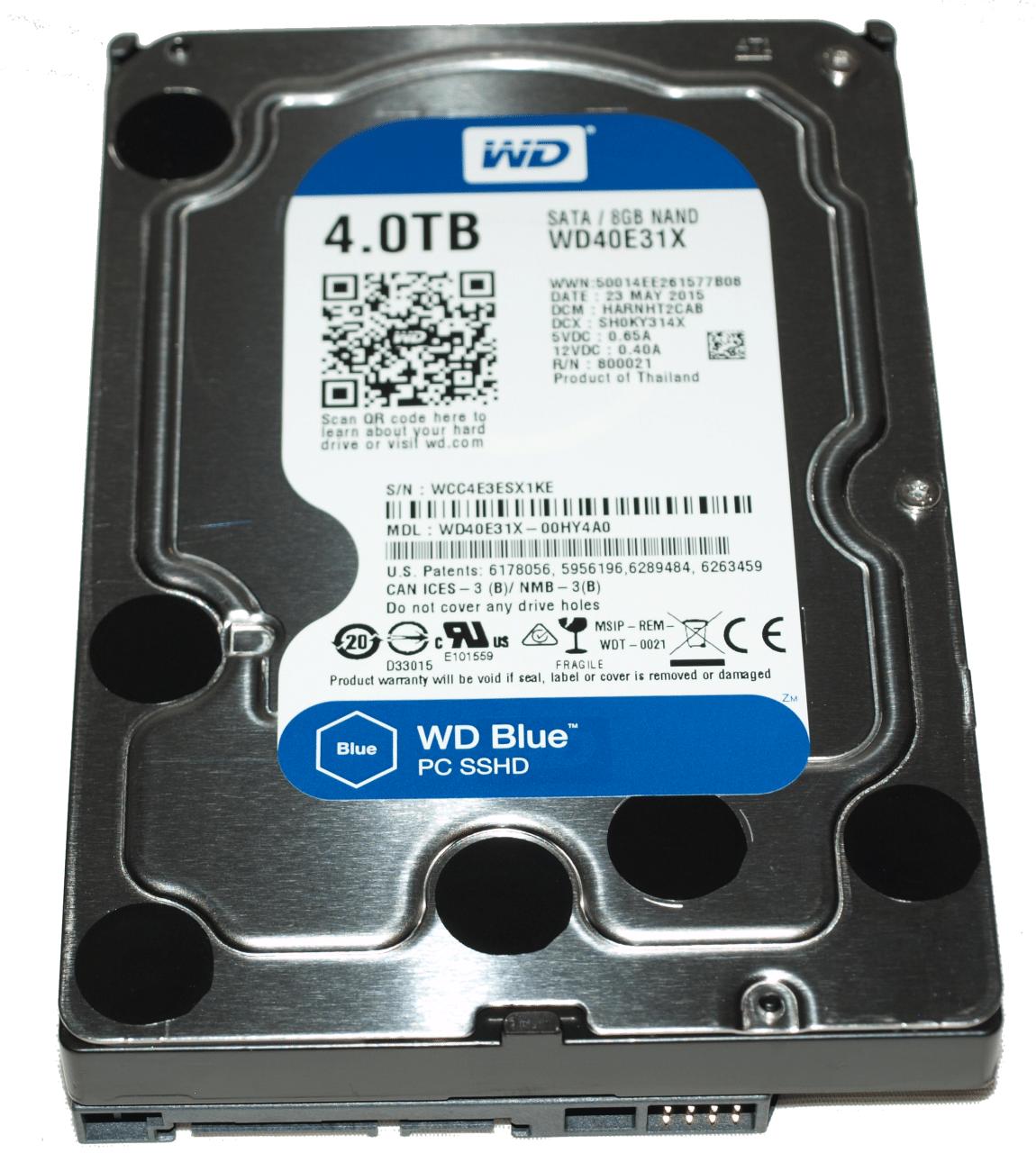Western Digital Blue 4TB SSHD (WD40E31X) Platter & SSD Ride