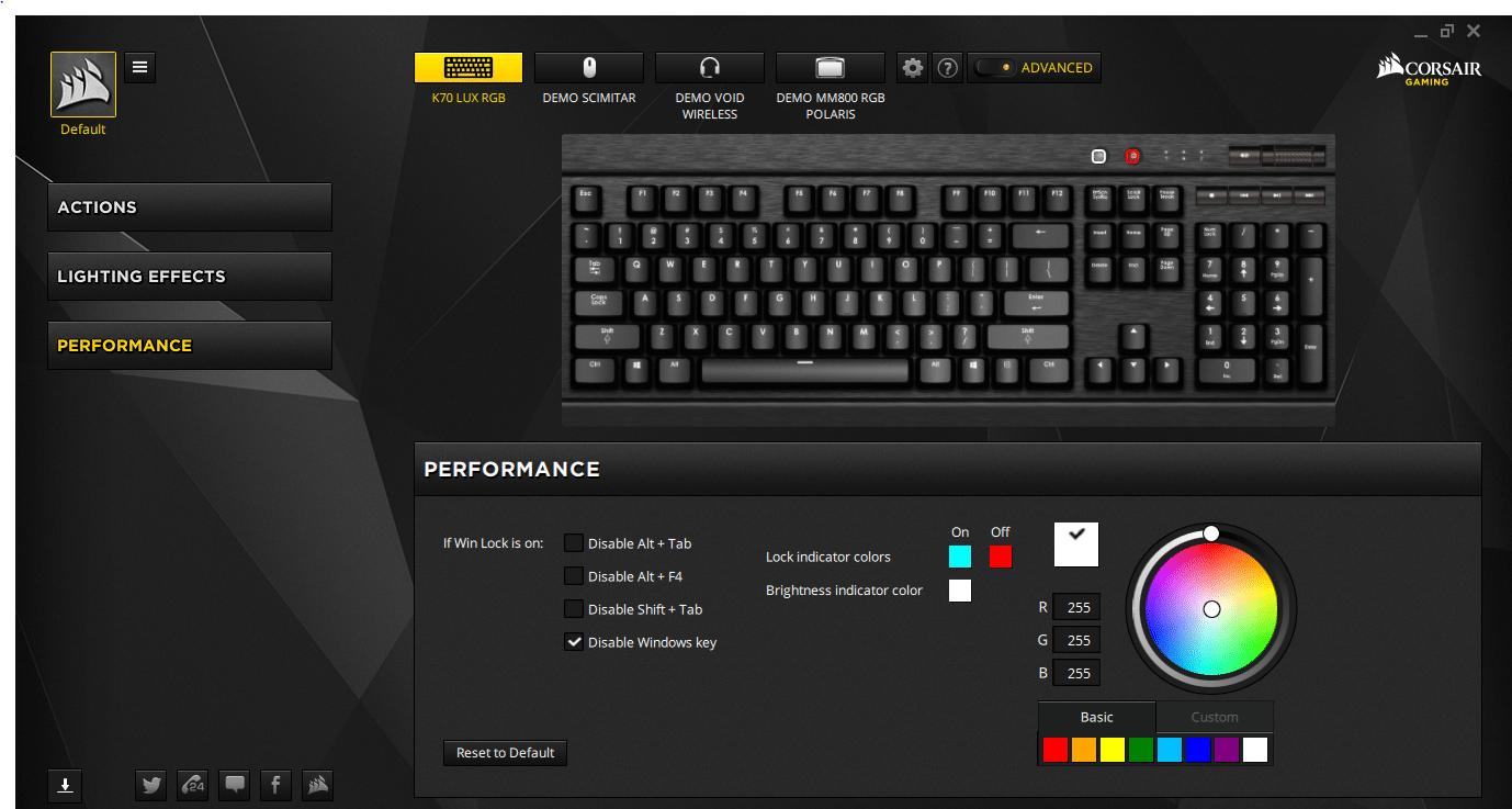 Corsair Gaming K70 LUX RGB Mechanical Keyboard Cherry MX RGB